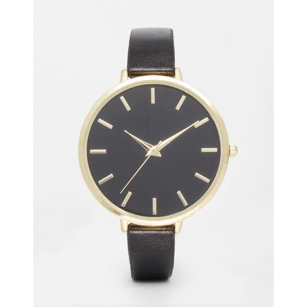 ASOS CURVE Sleek Large Face Watch ($26) ❤ liked on Polyvore featuring jewelry, watches, black, plus size, crown jewelry, pin jewelry, asos curve, black jewelry and black watches