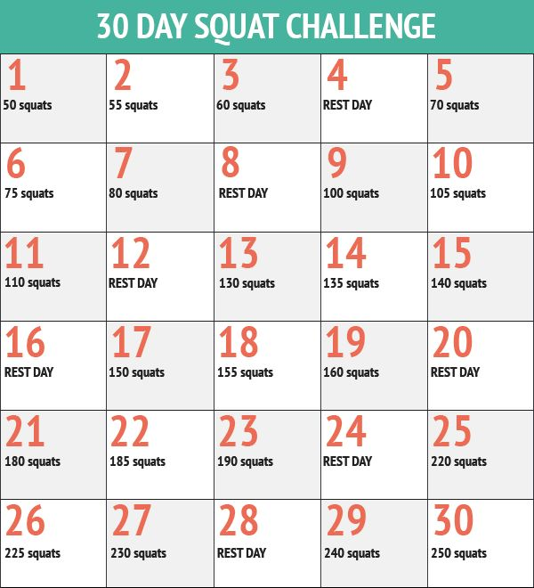 30 Day Squat Workout Challenge  http://30dayfitnesschallenges.com/classes/30-day-squats-challenge/