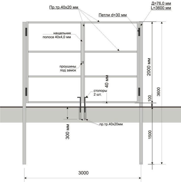 Схематическое изображение опор и каркаса распашных ворот