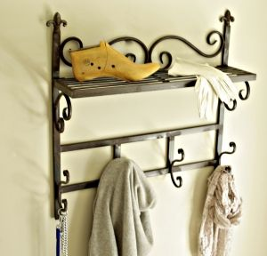 iron wall rack with hooks metal distressed brown green black