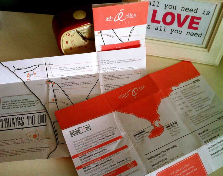 Guest welcome card folded out into map of Bali with things to do list wedding stationery