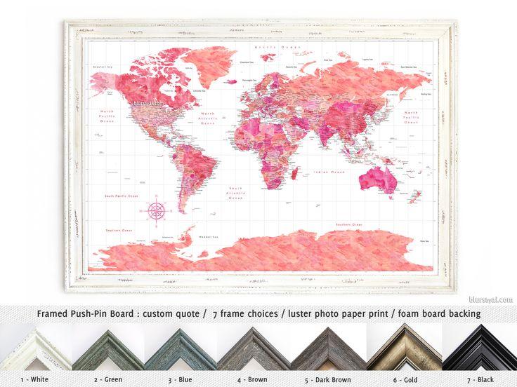 "Elite framed push pin board: Hot pink watercolor world map with cities & Antarctica. ""Tatiana"" #adventure #CompassRose #AnniversaryGiftIdea #CorkBoardBacking #FramedCorkboard #AnniversaryGiftForHim #compass #decor #framed #AnniversaryGift"