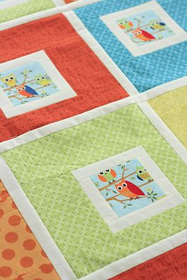 Project 12 Quilts: Little Owls baby quilt pattern / tutorial  Could do w/ any busy print fabric...I like how it looks. For lorax fabric?