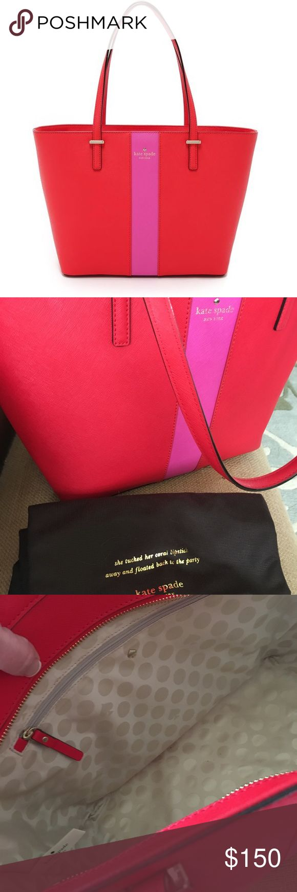Kate Spade Leather Red and Pink Striped Purse Negotiable Pricing Ask About Bundles and Discounts  Clean & Smoke Free Packaged With Love and Care  Fast Response Time kate spade Bags Totes