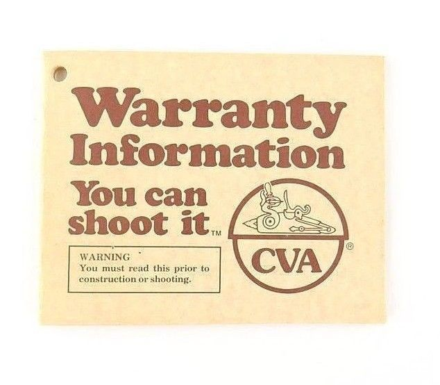 CVA Black Powder Manual & Warranty 1979 Muzzleloader