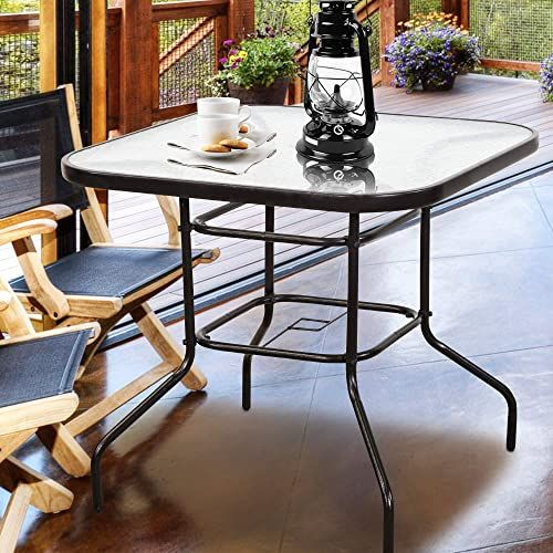 New Homevibes 32 Outdoor Patio Dining Table Tempered Glass Top