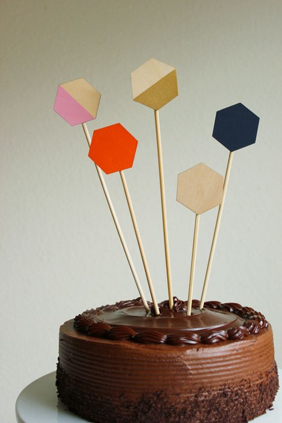 Easy Geometric Cake Toppers