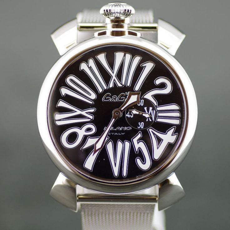 【中古】GaGa MILANO(ガガミラノ) 5080 4 マヌアーレ クオーツ SS メンズ ブラック文字盤時計/イナミックで動きのあるアラビア文字はインパクトがあり、イタリア人ならではの個性を感じます。/新品同様・極美品・美品の中古ブランド時計を格安で提供いたします。