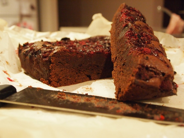 Donna Hay - Raspberry spiked chocolate brownies-  Thermomix Method  Melt choc and butter 60deg 4 mins speed 2  add suagr and eggd speed 5 five seconds,   add flour, baking powder and cocoa reverse speed 4-5 until combined