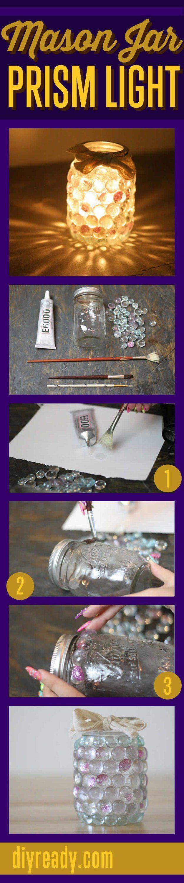 DIY Outdoor Lantern Ideas | Easy Mason Jar Prism Light by DIY Ready at http://diyready.com/21-diy-outdoor-lantern-ideas/