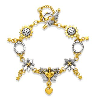 """7 1/2"""" charm strand bracelet with angel butterfly, sunflowers , spikey flowers & tiny stars in silver with gold plated detail.  Sophie Harley, Beautiful Designer PBS20 from the Papillion Rose collection."""