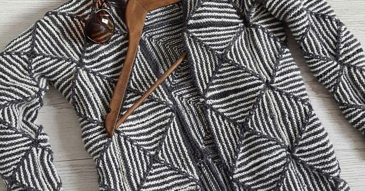Graafinen neliöistä neulottu neuletakki #knitting #cardigan #graphic