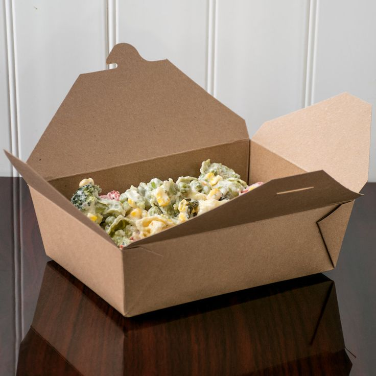 """Bio-Plus-Earth 03BPEARTHM 8"""" x 6"""" x 2 1/2"""" Kraft Microwavable Paper #3 Take-Out Container - 50/Pack"""