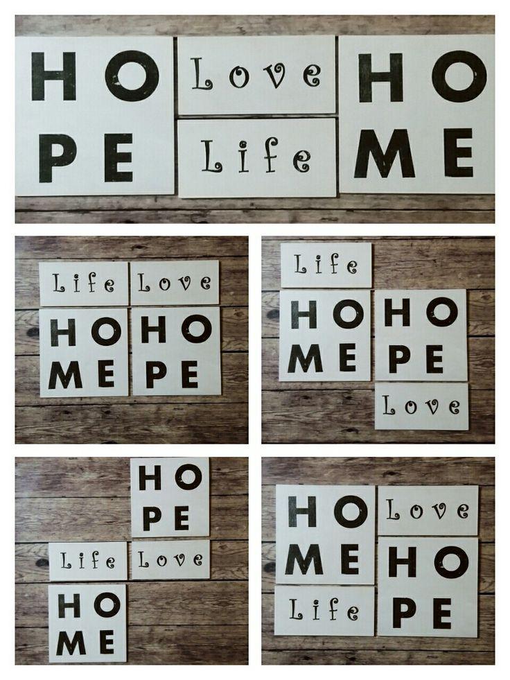 Home Hope Life Love Bord Lakásdekorációs fatáblák Transfer Handmade