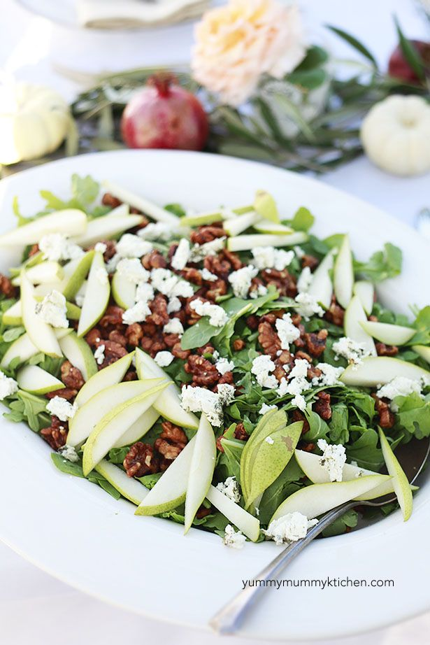 Delicious fall salad with apples, walnuts, herb goat cheese, and maple vinaigrette.