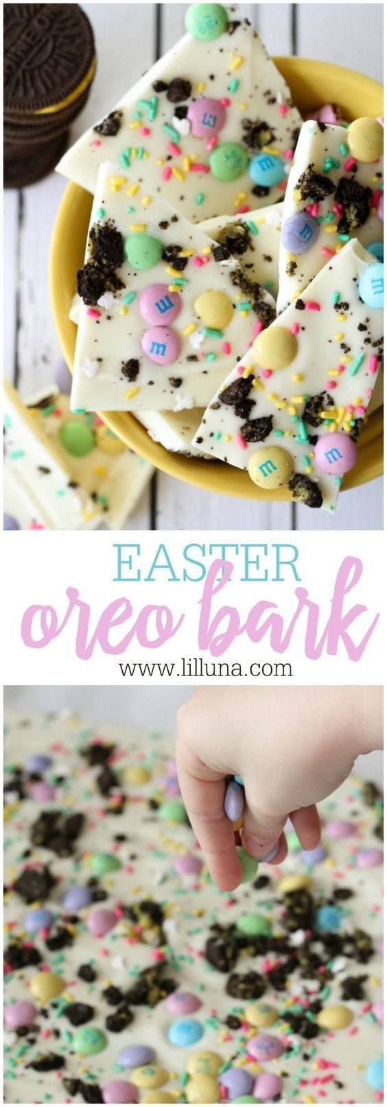 Easter Oreo Bark recipe - so festive, delicious and only takes 5 minutes to put together!