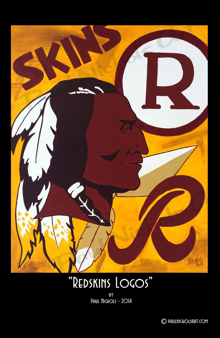 Print of an acrylic painting of Washington Redskins logos.