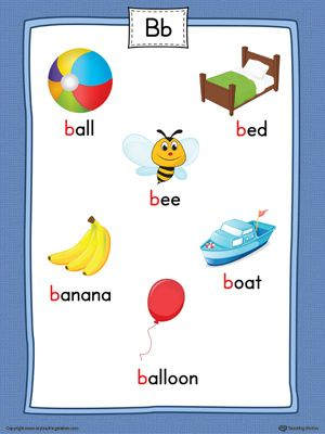 Letter B Word List with Illustrations Printable Poster ...
