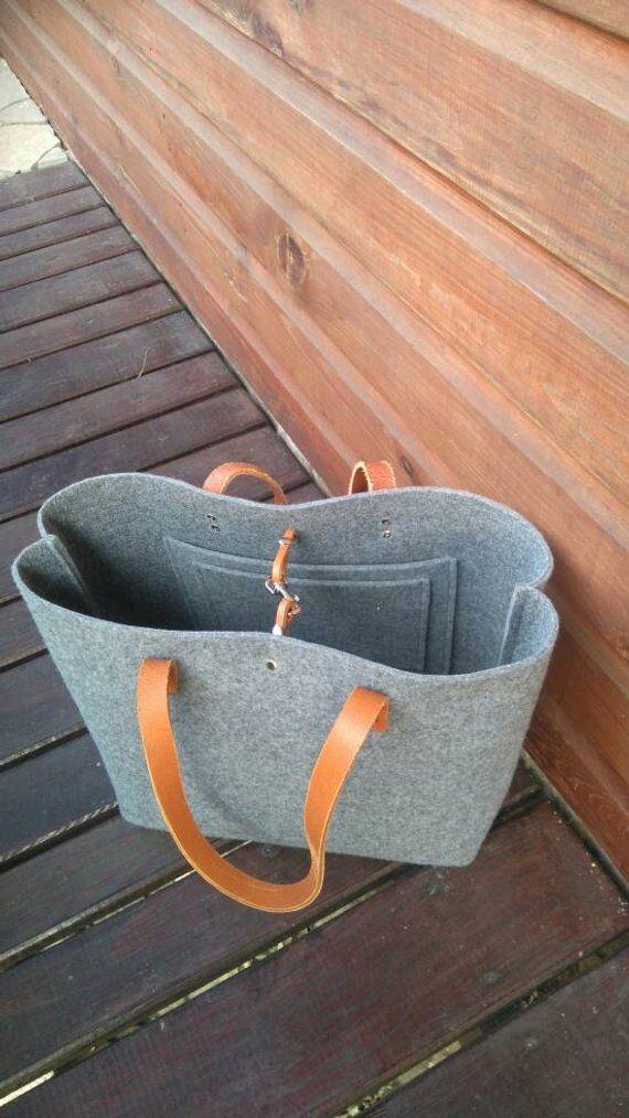 Grey felt tote bag, Felt Bag, Large Tote, For Shopping, Shopper Bag, Leather Handles, Tote Bag, Tote Felt, shoulder bag, Handbag, book bag