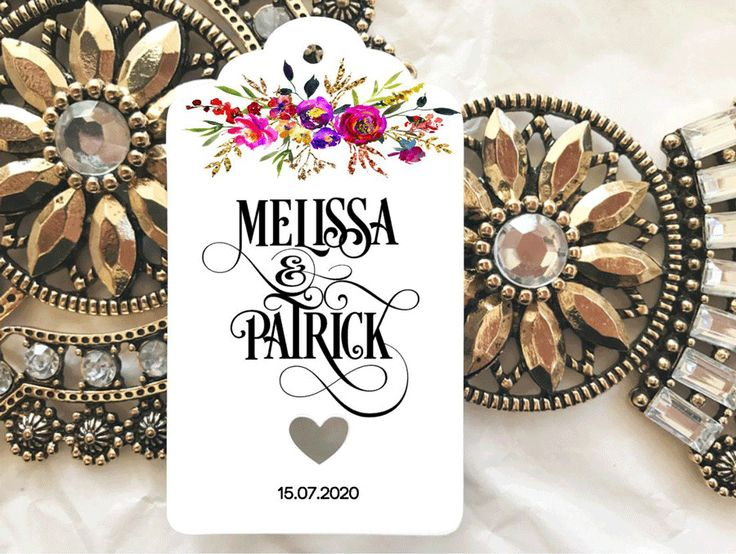 10 White Gift Tags Wedding Favour Engagement Bomboniere Personalised Floral #Unbranded #Wedding #Favours