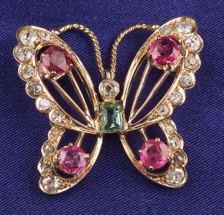 Diamond and Gem-set Butterfly Brooch