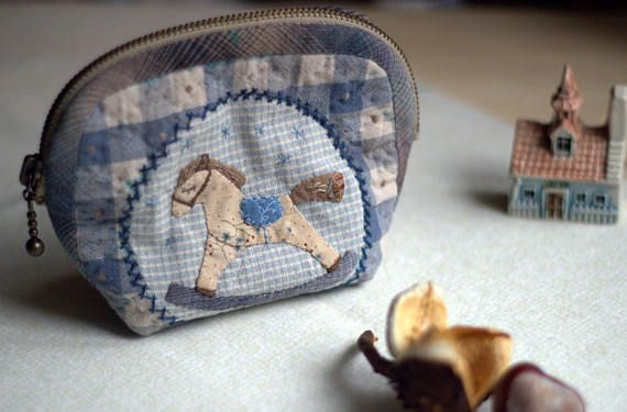Cosmetic Bag Project Bag  Patchwork Applique Designs Make-up