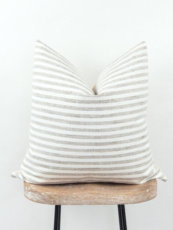 Stripe Farmhouse Pillow Cover Gray And White Pillow Cover Etsy In 2020 Modern Pillow Cases Farmhouse Pillows White Couch Pillows