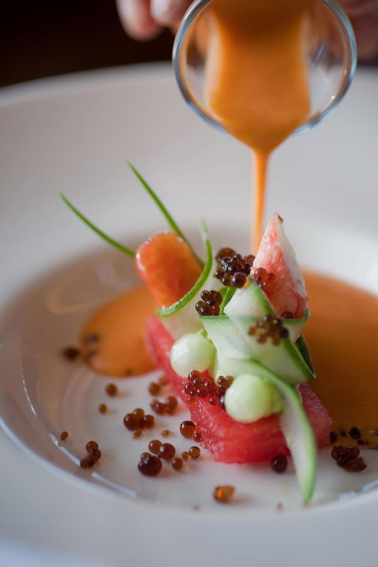 Cold Gazpacho with watermelon, crab and vinegar pearls.
