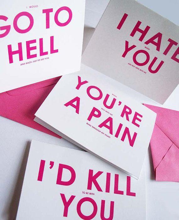 My FUnny Valentine6 Funny Love Humor Cards by YesUMaystationery, $13.50