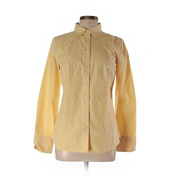 J. Crew Factory Store Long Sleeve Button Down Shirt ($23) ❤ liked on Polyvore featuring tops, yellow, button up shirts, long sleeve button down shirts, yellow long sleeve shirt, long-sleeve shirt and long sleeve tops