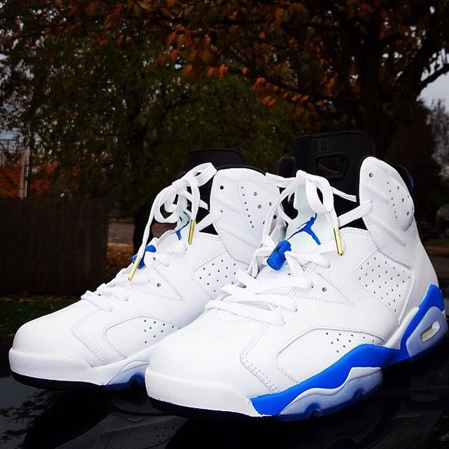 abc8204a1fe90c Jordan 6 Sport Blue with White Wax Laced Up Laces