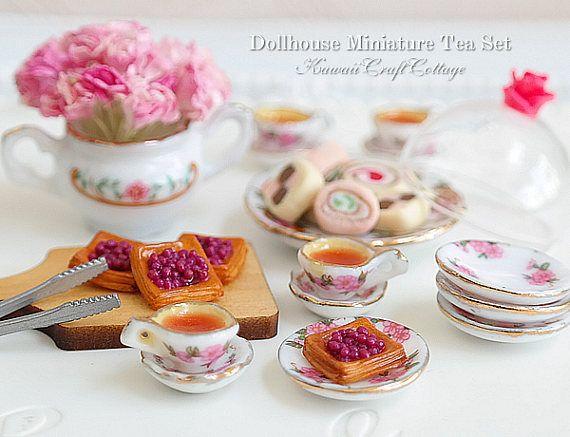 White w// Tiny Pink Flowers Miniature Dollhouse8 Pc Dish Towel Set