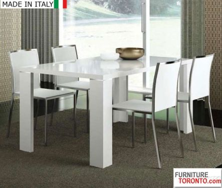 White High Gloss Dining Table With One Extension W 20