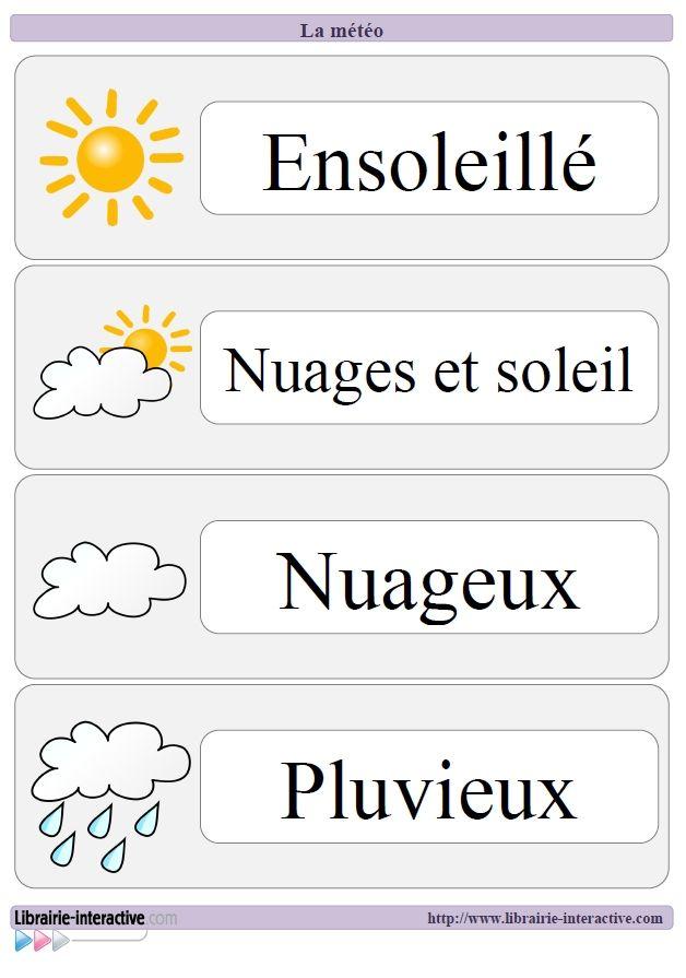 Référents, affichages et étiquettes pour travailler le langage à l'aide du thème de la météo. French weather images & vocabulary for printing (A6 paper size).