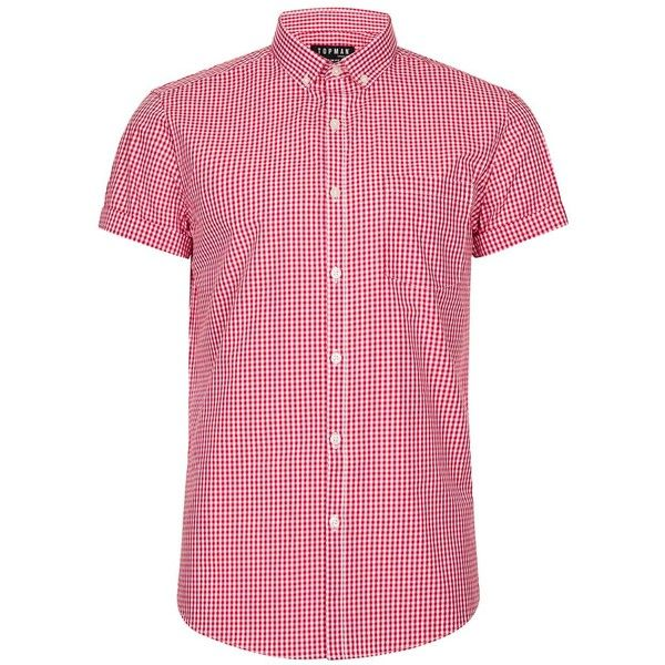 TOPMAN Red and White Gingham Smart Shirt (€28) ❤ liked on Polyvore featuring men's fashion, men's clothing, men's shirts, men's casual shirts, red, mens shirts, mens slim fit gingham shirt, mens button down collar dress shirts, mens red gingham shirt and mens red and white striped shirt