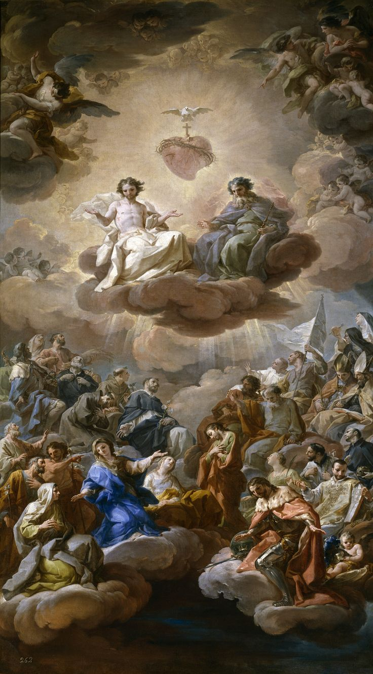 The Holy Trinity / La Santísima Trinidad // Ca. 1754 // Corrado Giaquinto #SacredHeart #saints #glory