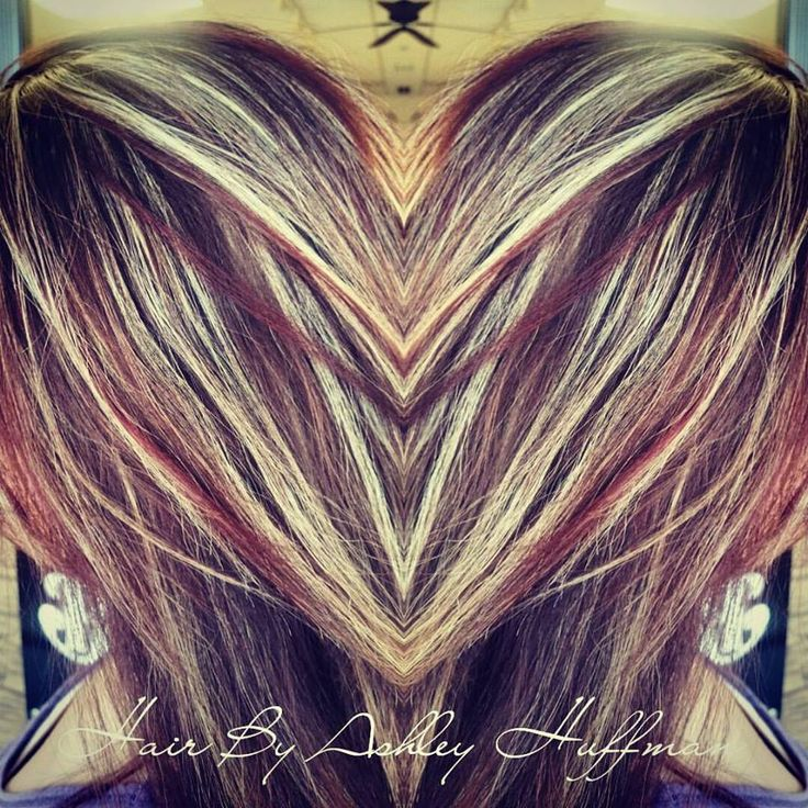 Pomegranate Red Low Lights With Chardonnay Blonde Highlights