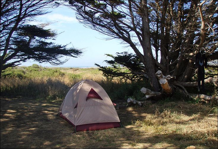 ... my ritual cup of joe and some breakfast, I headed down the highway and stopped just north of San Francisco. Here's my campsite at Manchester State Park.
