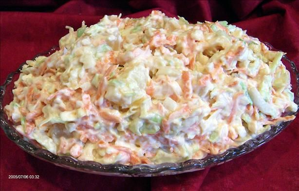 Carrot and Pineapple King Coleslaw from Food.com: A great cole slaw salad for a BBQ