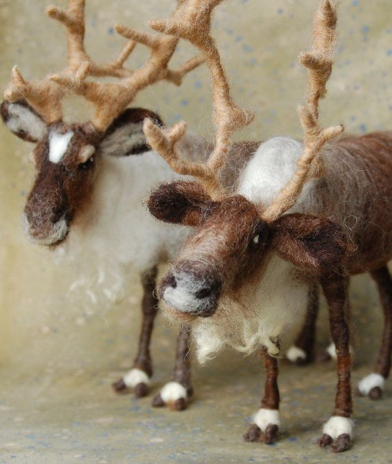 The one on the bottom just looks so *earnest*... Needle Felted Rooster | Needle Felted Reindeer by SarafinaFiberArt on Etsy