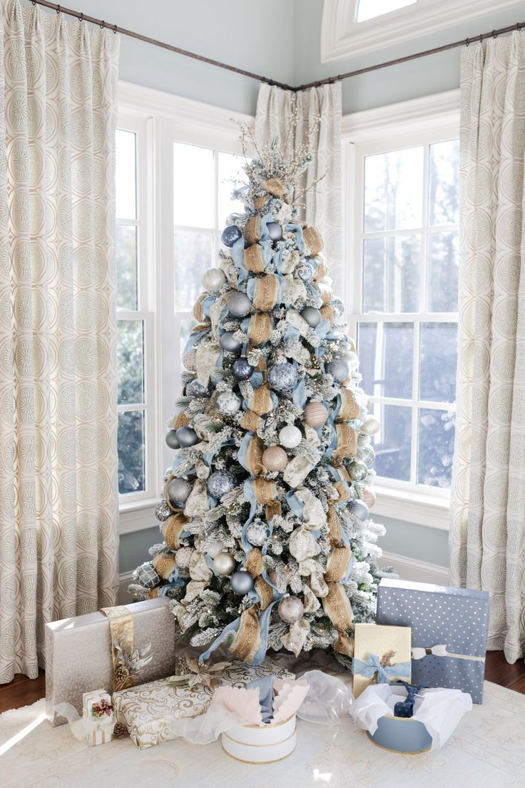 Gold And Blue Christmas Decorations My Cinderella Tree Bluegraygal Blue Christmas Decor Flocked Christmas Trees Decorated Blue Christmas Tree