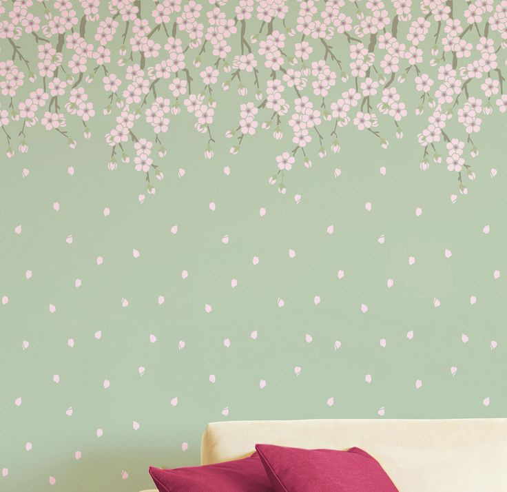 Cherry blossoms tree stencil wall stencil large tree for Cherry blossom wall mural stencil