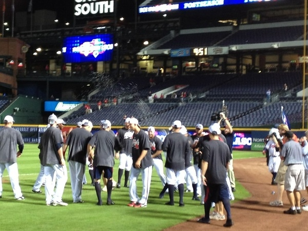 The celebration continues onto the field.Celebrities Continuous, Atlanta Brave, Things Sports