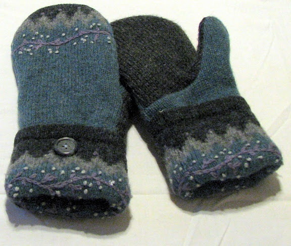 new winter break project: recycled wool sweater mittens!