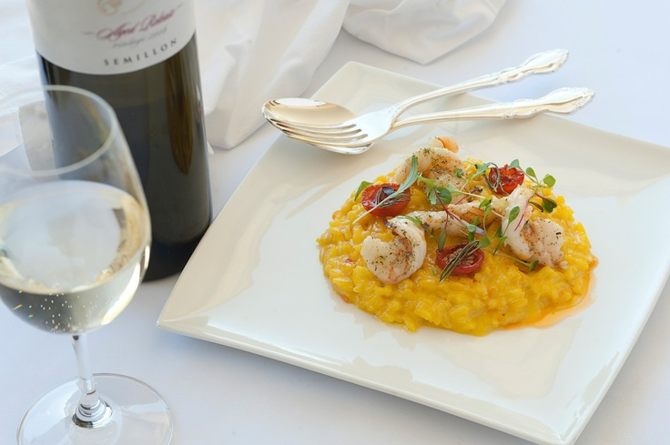 Recipe available on blog for Margan Restaurant's delicious Saffron Risotto with Prawns #HunterValley #FoodFight #HVWineFoodMonth