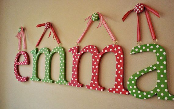 hanging wooden letter wooden wall letters hand painted letters for wall childrens wall letters by oscar & ollie on Etsy, $20.54