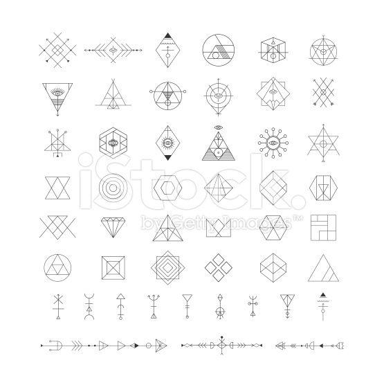 トレンディな幾何学模様のアイコンをベクトルします。Alchemy 記号のコレクションです。 ロイヤリティフリーストックのベクターアート