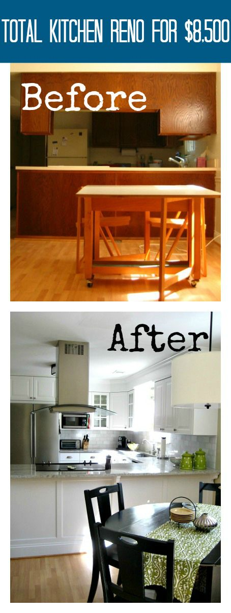 Total DIY Kitchen Reno for $8,500 Using Ikea cabinets. This included cabinets, stone counters, marble backsplash, and new appliances.