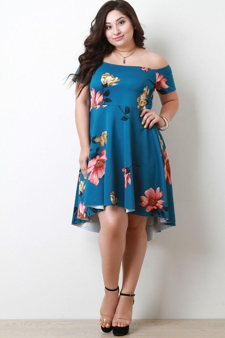 Off The Shoulder Floral High Low Midi Dress Blue, C$59.99