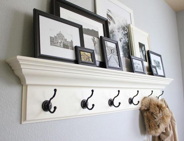 how to arrange frames on a shelf